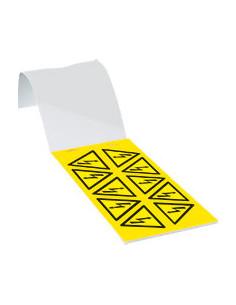 Waarschuwingspictogram waarschuwing voor elektrische spanning, ISO 7010, zelfklevende folie (sticker), SL 50 mm, 100/boekje
