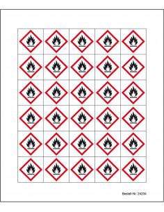 Minisymbool GHS02 'ontvlambare stoffen' sticker