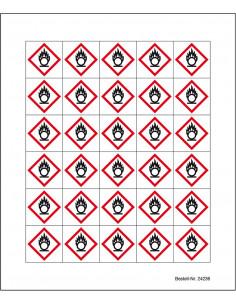 Minisymbool GHS03 'oxiderende stoffen' sticker