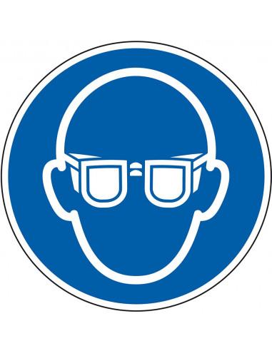 Oogbescherming verplicht bord, kunststof, M004, blauw wit, pictogram oogbescherming en bril, rond, ISO 7010