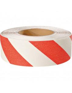 Anti slip gevarentape rood/wit, 18,3 meter