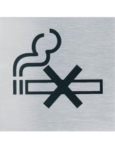 Stalen pictogram Roken verboden, rvs, zelfklevend, geborsteld, 70 x 70 mm