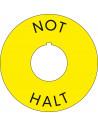 Noodstop sticker, Emergency stop, geel, met gat
