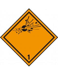 ADR klasse 1 sticker explosieve stoffen zeewaterbestendig, oranje, explosie symbool