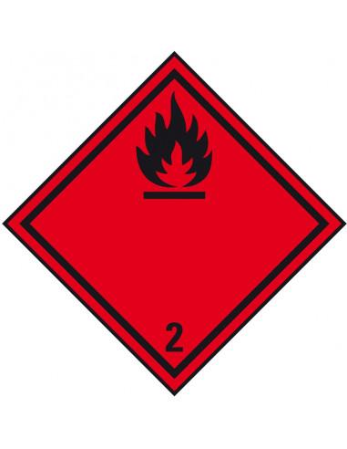 ADR klasse 2.1 sticker brandbare gassen, zeewaterbestendig, ruit, rood zwart. brandbare gassen pictogram,