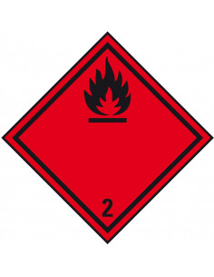 ADR klasse 2.1 sticker brandbare gassen, ruit, rood zwart, brandbare gassen pictogram