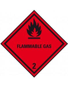 ADR klasse 2.1 sticker brandbare gassen met tekst, zeewaterbestendig