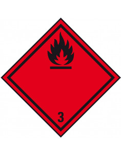 ADR klasse 3 sticker ontvlambare vloeistoffen, zeewaterbestendig, ruit, rood zwart, vlam pictogram
