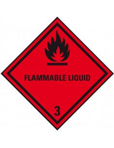 ADR klasse 3 sticker ontvlambare vloeistoffen met tekst, zeewaterbestendig, ruit, rood zwart, vlam pictogram met tekst