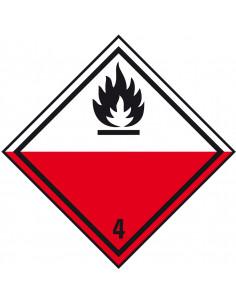 ADR klasse 4.2 sticker zelfontbrandende stoffen, rood wit zwart, ruit, vlam pictogram