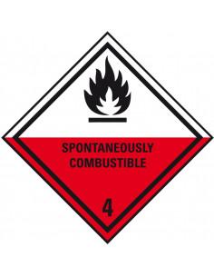 ADR klasse 4.2 sticker zelfontbrandende stoffen met tekst, zeewaterbestendig, ruit, rood wit zwart, vlam, pictogram