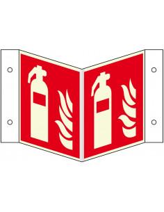Lichtgevend panorama bord brandblusser, kunststof, F001, rood wit, pictogram brandblusser, vierkant