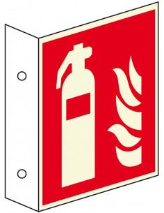 Lichtgevend haaks brandblusser bord, kunststof, F001, rood wit, pictogram brandblusser, vierkant