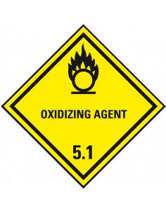 ADR klasse 5.1 sticker oxiderende stoffen met tekst, geel zwart, ruit, tekst oxidizing agent