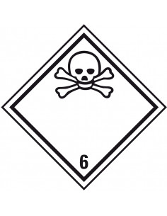 ADR klasse 6.1 sticker giftig, zeewaterbestendig, ruit, wit zwart, doodshoofd pictogram