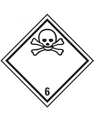 ADR klasse 6.1 sticker giftig, ruit, wit zwart, doodshoofdpictogram