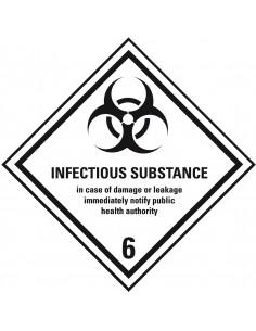 ADR klasse 6.2 sticker besmettelijke stoffen met tekst, zeewaterbestendig, ruit, wit zwart, met tekst, infectious substance