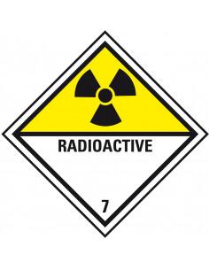 ADR klasse 7 sticker radioactieve stoffen, zeewaterbestendig, ruit, geel wit zwart, radioactief pictogram