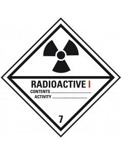 ADR klasse 7 sticker radioactief 1, wit zwart, ruit, radioactief 1