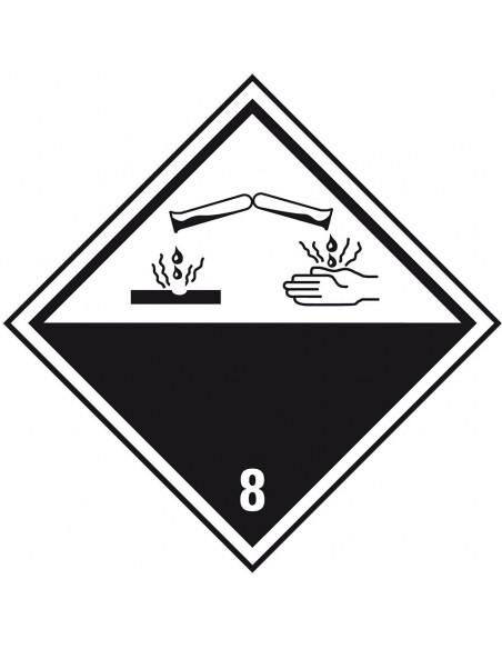 ADR klasse 8 sticker bijtende stoffen, zeewaterbestendig, wit zwart, bijtendestoffen pictogram