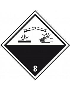 ADR klasse 8 sticker bijtende stoffen, wit zwart, ruit, pictogram bijtende stoffen