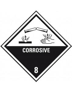 ADR klasse 8 sticker bijtende stoffen met tekst, wit zwart, ruit, bijtende stoffen pictogram