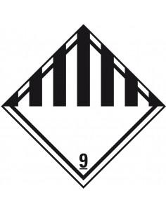 ADR klasse 9 sticker diverse gevaarlijke stoffen, wit zwart, ruit, strepen