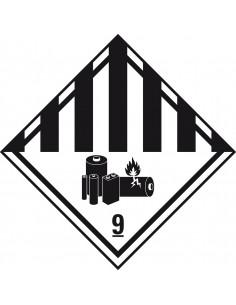 ADR klasse 9 sticker diverse gevaarlijke stoffen met pictogram, ruit, wit zwart, met pictogram
