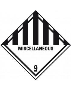 ADR klasse 9 sticker diverse gevaarlijke stoffen met tekst, zeewaterbestendig, wit zwart, ruit, strepen met tekst miscellaneous