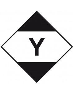 ADR sticker beperkte hoeveelheden met tekst, ruit, wit zwart, met letter Y