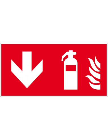 Sticker brandblusser, richting naar beneden, 300 x 150 mm, ISO 7010, F001