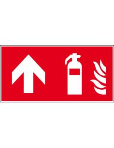 Brandblusser bord rechtdoor, 300 x 150 mm, F001, rood wit, pictogram brandblusser met pijl rechtdoor, rechthoek