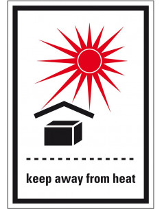 Verpakkingetiket 'Keep away from heat' folie