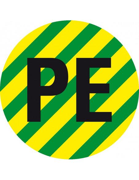Beschermende PE geleider sticker, groen geel
