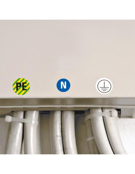Beschermende PE geleider sticker, vel, groen geel met daarbij neutraal geleider sticker en beschermende aardig sticker