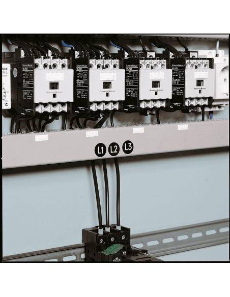 Fase L1, L2 en L3 geleider sticker op rol, zwart wit