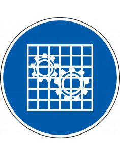 pictogram bescherming controleren, blauw wit, rond, ISO 7010, M027