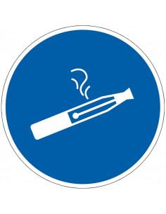 pictogram e-sigaretten toegestaan, blauw wit, rond