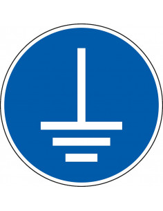 pictogram aarding verplicht, blauw wit, rond, ISO 7010, M005