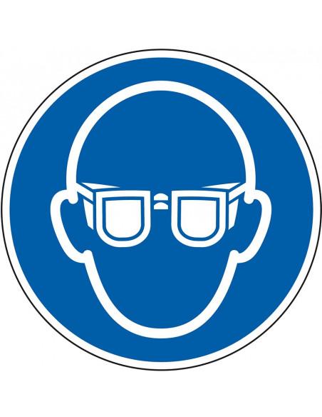 Oogbescherming verplicht sticker, ISO 7010, M004, blauw wit, pictogram oogbescherming en bril, rond