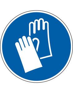 pictogram veiligheidshandschoenen verplicht, blauw wit, rond, ISO 7010, M009