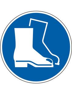 pictogram veiligheidsschoenen verplicht, blauw wit, rond, ISO 7010, M008
