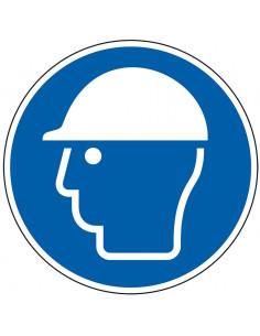 pictogram veiligheidshelm verplicht, blauw wit, rond, ISO 7010, M014