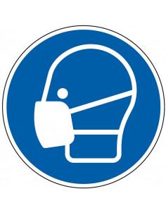 pictogram mondkapje verplicht, blauw wit, rond, ISO 7010, M016