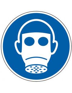 pictogram adembescherming verplicht, blauw wit, rond, ISO 7010, M017