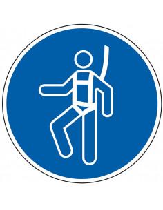 pictogram valbescherming verplicht, blauw wit, rond, ISO 7010, M018