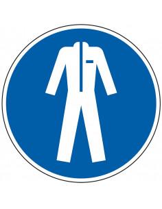 pictogram beschermende kleding verplicht, blauw wit, rond, ISO 7010, M010