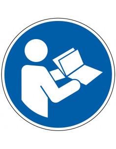 pictogram gebruiksaanwijzing gebruiken, blauw wit, rond, ISO 7010, M002