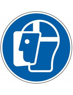 Gezichtsbescherming verplicht gebodssticker, ISO 7010, M013, blauw wit, rond