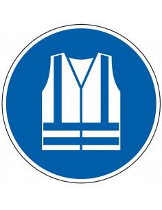 pictogram veiligheidshesje verplicht, blauw wit, rond, ISO 7010, M015